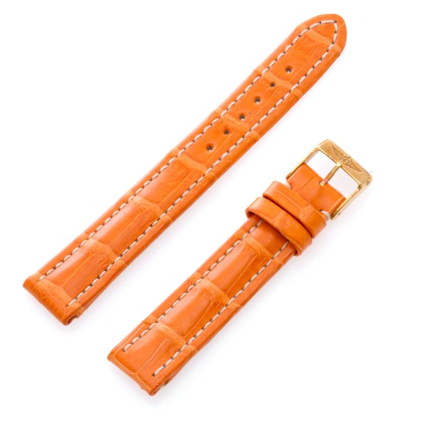 Breitling (15mm x 14mm) orange crocrodile strap with gold buckle