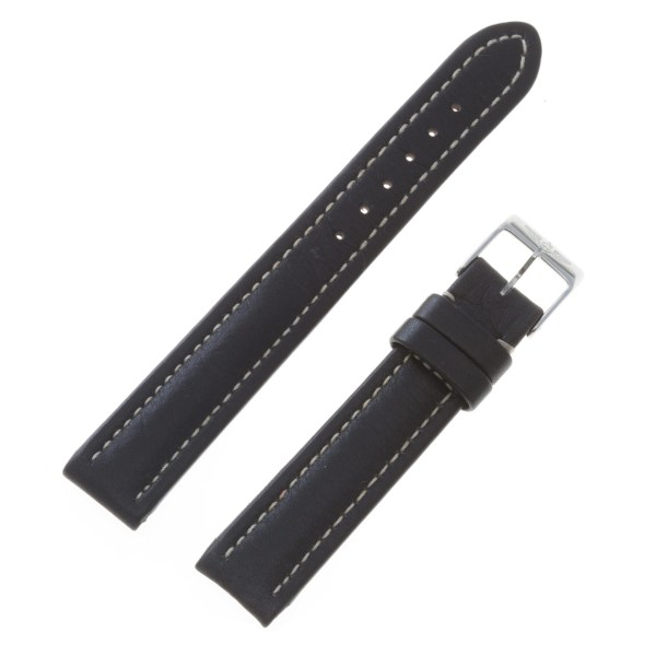 Breitling black leather strap with white stitching with original tang buckle  15mm x 14mm