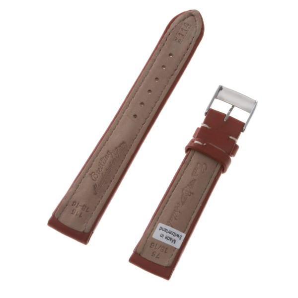 Breitling tan leather strap with white stitching and original tang buckle (18x16)