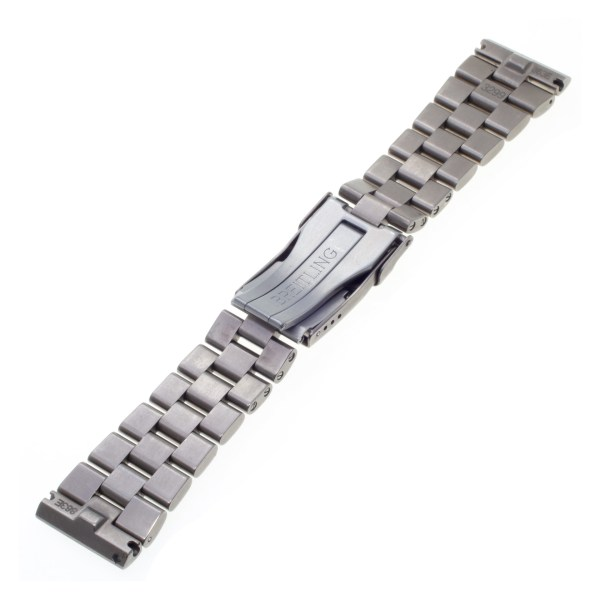 "Breitling titanium band 22 mm x 18mm, 6.5"" length."