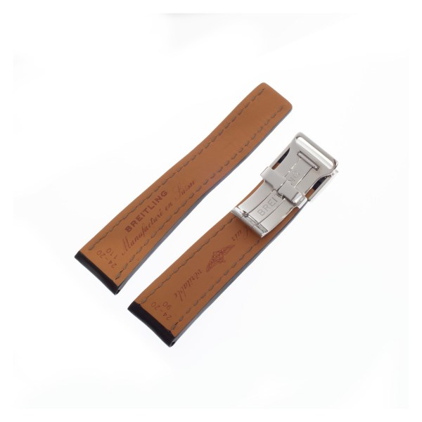 Breitling black calf skin strap with white stitching and deployant clasp (24mm x 18mm)