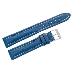 Breitling blue leather strap with white stitching and original st/s buckle (15mm x 14mm)
