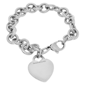 Tiffany & Co. sterling silver bracelet with heart charm