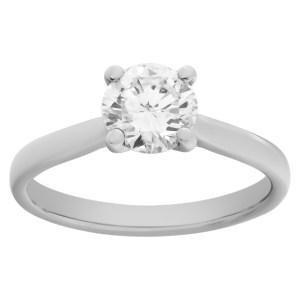 GIA certified round brilliant cut diamond 1.02 carat (E color, VS2 clarity) ring