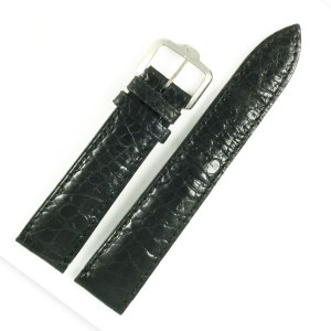 Paul Picot black alligator strap with stainless steel tang buckle