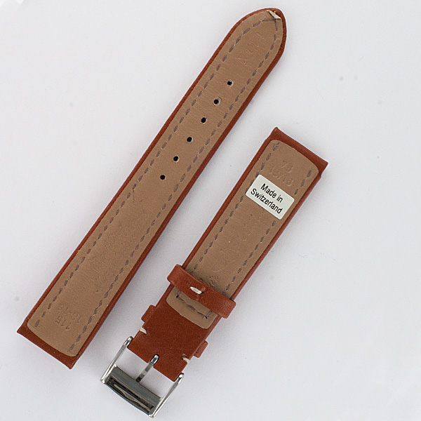 Breitling camel color calf skin strap with stainless steel two piece buckle (18x16)