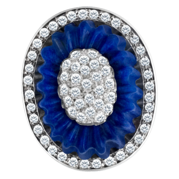 Unique design lapis and diamond ring with app. 1 carats in diamonds in 18k white gold