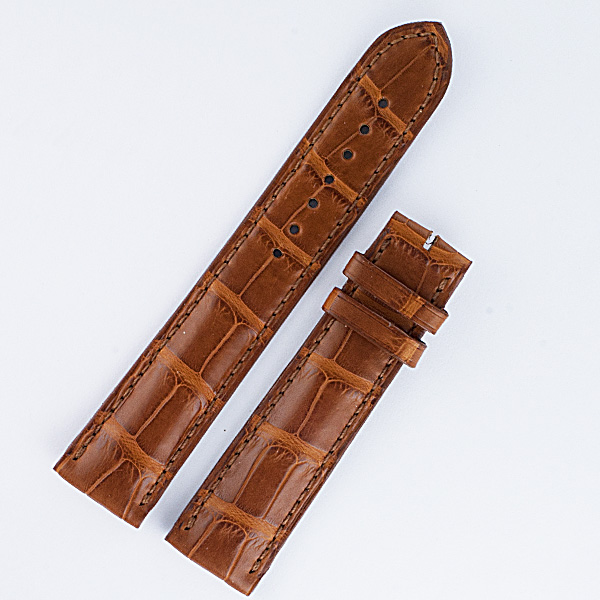 "Patek Philippe Brown alligator strap 20mm x 18mm long end 4.5"" & short 3 1/8"""
