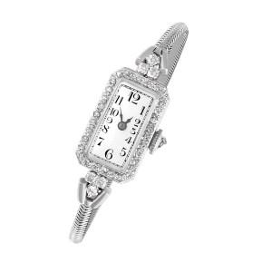 Platinum diamond cocktail watch