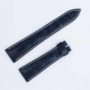 Breguet crocodile strap dark blue with white stitching (21x16mm)