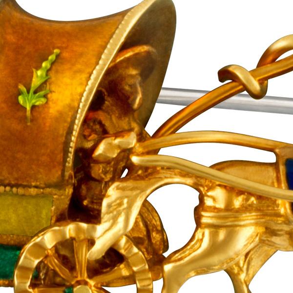 Vintage pin horses in 18k