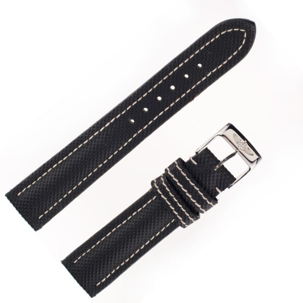 Breitling used black strap with white stitching  (18 X 16)