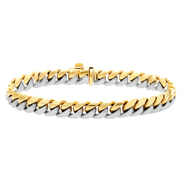 White and yellow 18k gold bracelet
