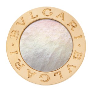 Bvlgari Mother of Pearl round top bezel ring in 18k gold