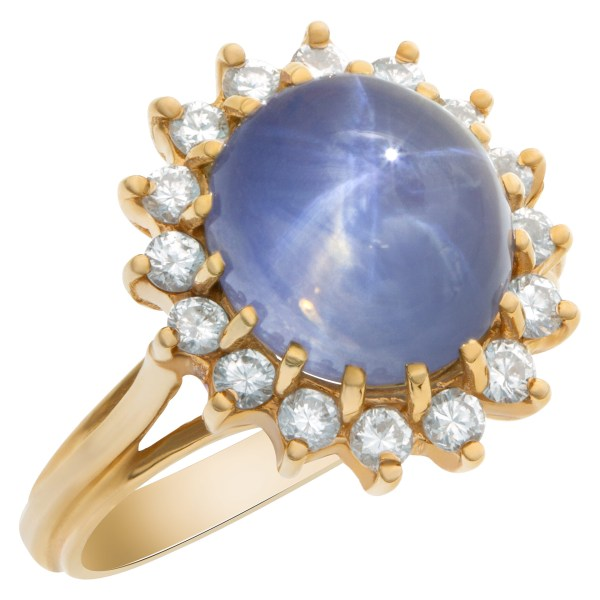 Star sapphire ring with diamond accents in 14k
