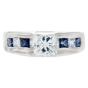 GIA certified princess cut diamond 1.01 cts (H Color, VS2 Clarity) ring set in platinum.
