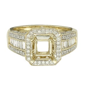 Diamond setting in 14k yellow gold;  0.90 carats in round & baguette diamonds.