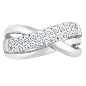 Stunning  diamond crisscrossed ring in 14k white gold.