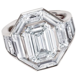 One of A Kind Baguette Diamond setting with app 5 cts with a center Emerald cut 6.02 ct