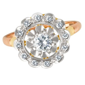 Amazing Flower Shape Diamond Ring in 14k White,Yellow & Pink Gold