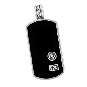 David Yurman tag necklace with black onyx in sterling silver