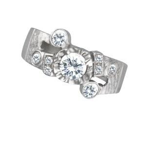 Diamond ring in 14k white gold. 0.80 carats in diamonds. Size 6.25