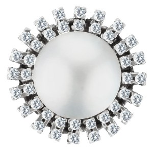 Magnificent diamond and Mobe pearl ring in 14k white gold. 0.80 cts in diamonds
