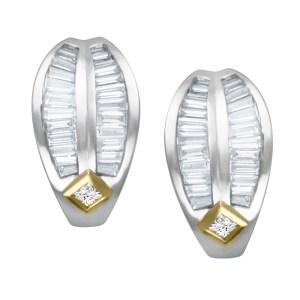 Diamond earrings with appr. 1.1CT baguet diamonds in 18k gold