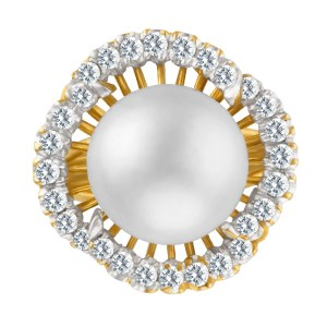Pearl & Diamond Ring With App. 2 Cts In Diamonds In 18k