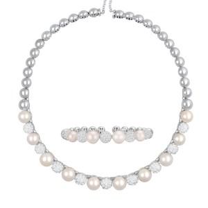 Pearl & pave diamond choker & bracelet set in 18k wg, 14 x 9mm pearls
