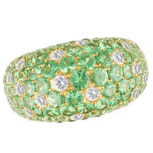 Tsavorite garnet ring with diamonds in 18k