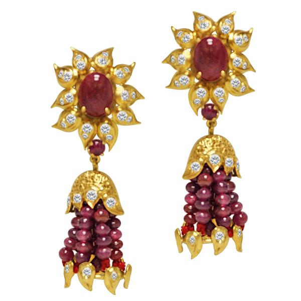 Cabochon ruby, ruby bead bead & diamond earrings in 14k