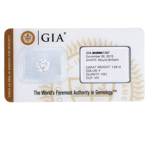 GIA Certified Loose Diamond - 1.66 cts (F Color, VS1 Clarity)