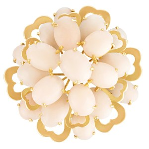 Angel Skin Coral pendant/brooch in 14k yellow gold.