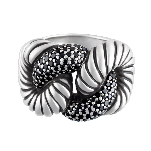 David Yurman Cordelia ring with 0.68 cts in black diamonds in sterling silver
