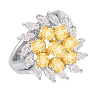 Beautiful flower yellow and white gold diamond ring 18k