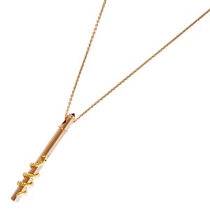 Amazing 18k rose gold pendant with ruby accents designed by PYUR