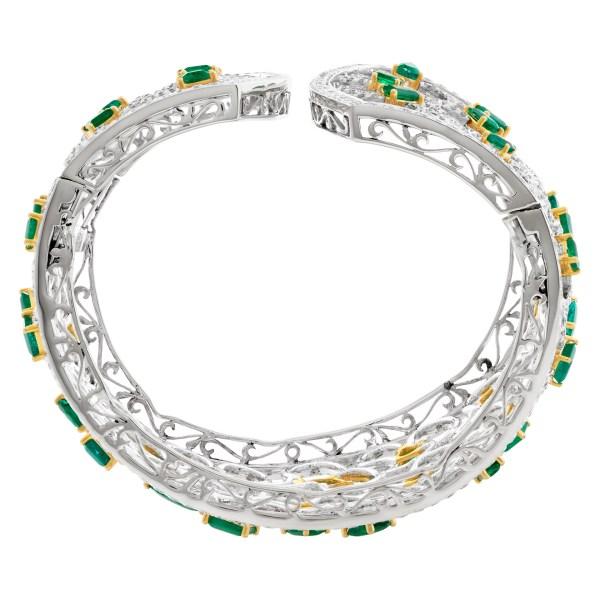 Emerald and diamond cuff 18k white gold. 21.24 carats in Diamonds, 16.80 carats in emeralds.