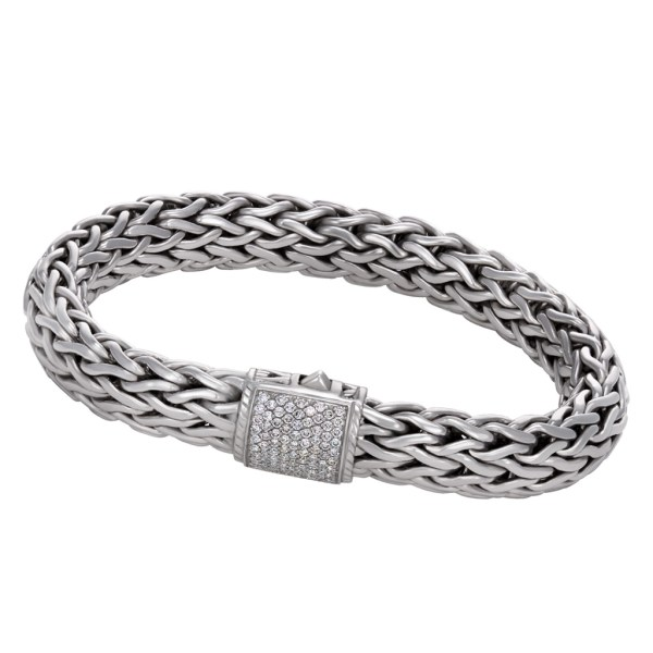 John Hardy Wheat bracelet in sterling with pave diamond clasp