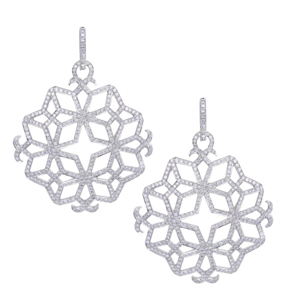 Snowflakes 18k white gold with 8.65 cts in diamonds