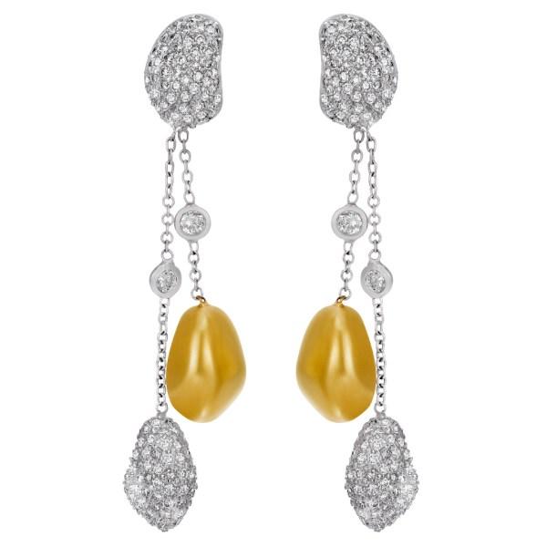 Beaded diamond and gold drop earrings