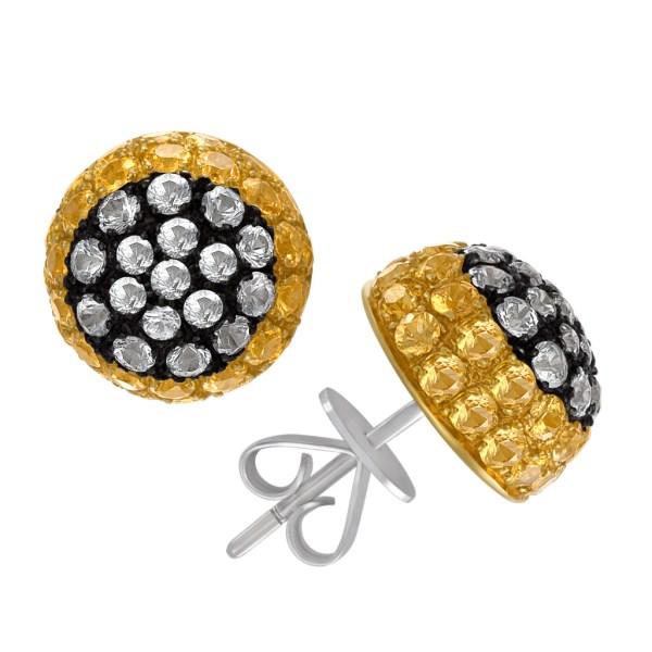 Green & yellow sapphire domed earrings in 18k