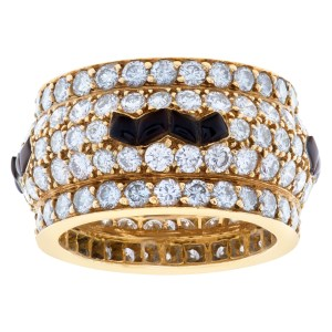 Domed diamond eternity band and ring with onyx inlay in 14k yellow gold. 5.4cts in dias