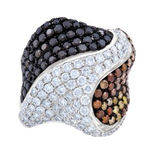 Fancy ring with black, white, yellow, brown & orange diamonds in 18k white gold. 5.45cts