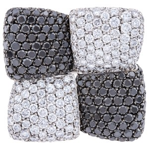 Palmiero J.D. 18k white gold ring with white and black diamonds. approx. 14.18 carats