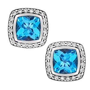 David Yurman blue topaz and diamond earrings