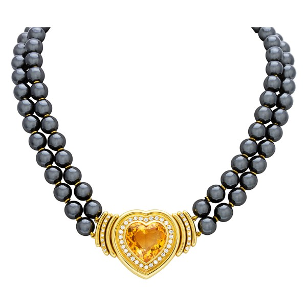 Heart Shaped Citrine necklace in 18k with approx 2 carats in diamonds with hematite beads