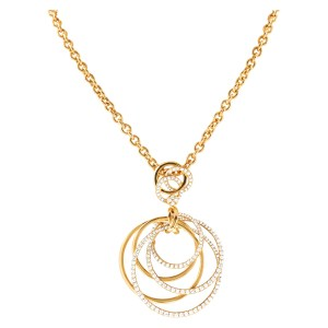 Diamond circles of Love necklace in 18k yellow gold