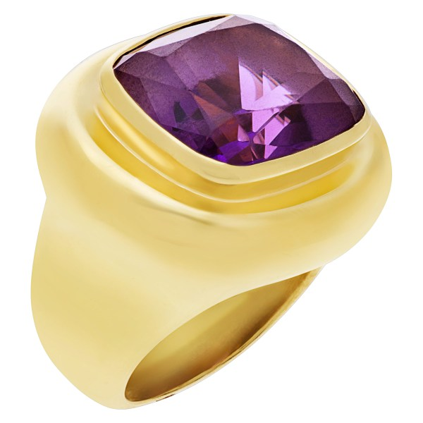 Tiffany & Co Paloma Picasso ring in 18k yellow gold with center amethyst