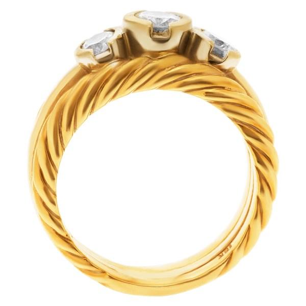 Three diamond ring in 18k yellow gold. 0.50 carats in diamonds. Size 7